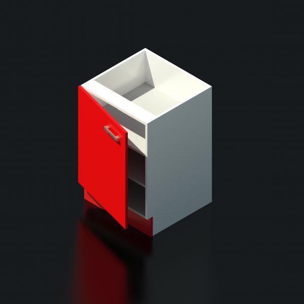 Under bench Cupboard Revit 3D Rendered
