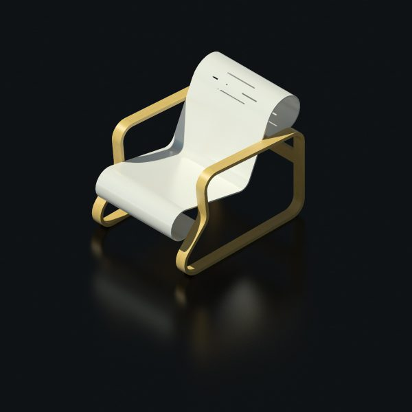BIMicon_Aalto Paimio Armchair 3D Rendered