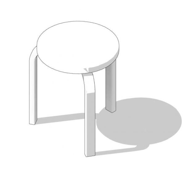 BIMicon_Aalto Stool 60 3D Hidden Line