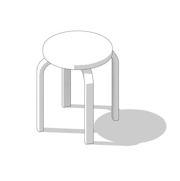 BIMicon_Aalto Stool E60 3D Hidden Line