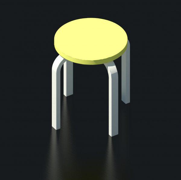 BIMicon_Aalto Stool E60 3D Rendered