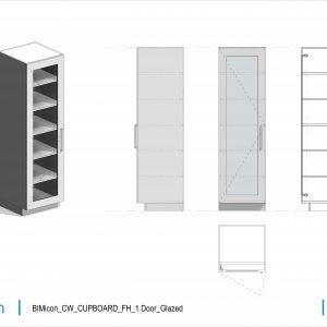 BIMicon_CW_CUPBOARD_FH_1 Door_Glazed